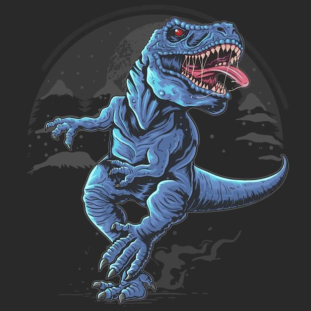 Il dinosauro t-rex corrisce e il bastro mostro selvaggio nella notte scura Vettore Premium