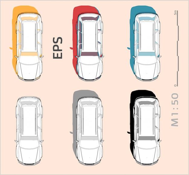 Il disegno dell'automobile del veicolo ha messo sui colori differenti, vista superiore Vettore Premium