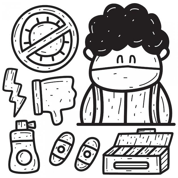 Il disegno di doodle del fumetto dissipa i virus Vettore Premium