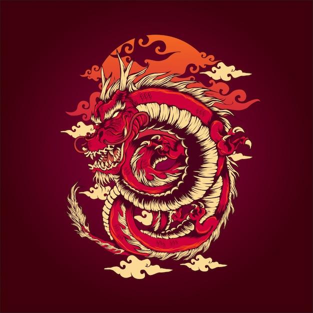 Il drago rosso Vettore Premium