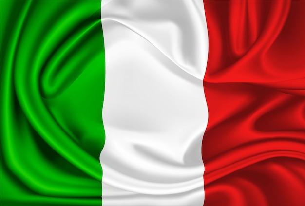 Il drappo di seta realistico della bandiera del messico italia di vettore Vettore Premium