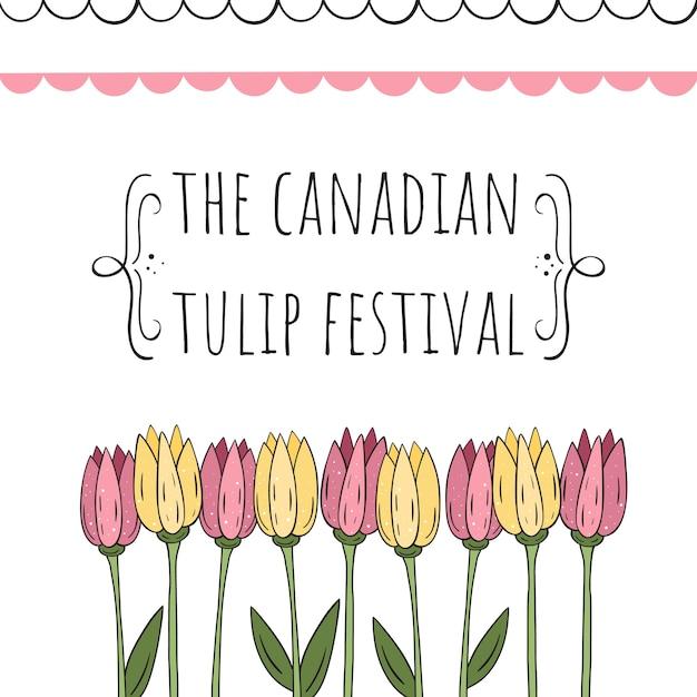 Il festival canadese dei tulipani. illustrazione vettoriale Vettore Premium