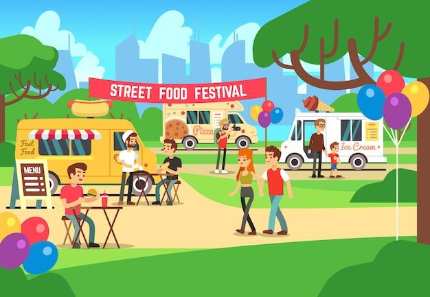 Il festival del cibo di strada del fumetto con la gente e camion vector il fondo Vettore Premium