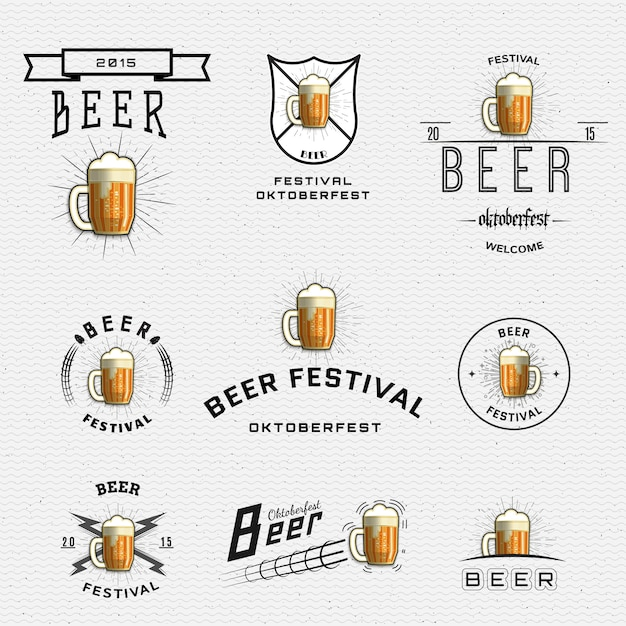 Il festival della birra si fregia di loghi ed etichette per qualsiasi uso Vettore Premium