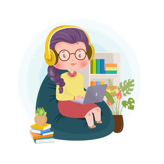 Il film d'ascolto di musica d'ascolto del carattere sveglio nell'illustrazione di concetto del computer portatile resta a casa Vettore Premium