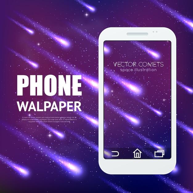 Il fondo della pioggia della meteora con le comete brillanti di caduta per l'interfaccia mobile wallpaper l'illustrazione di vettore Vettore Premium
