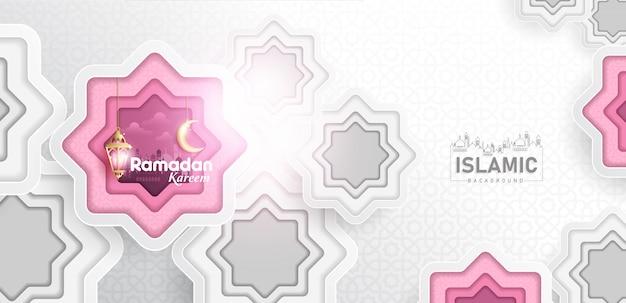 Il fondo di ramadan kareem in arte di carta o la carta ha tagliato il vettore di stile Vettore Premium