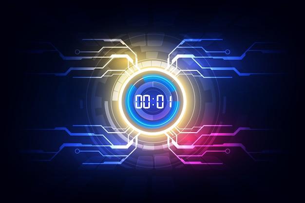Il fondo futuristico astratto della tecnologia con il concetto del temporizzatore di numero di digital e il conto alla rovescia, vector trasparente Vettore Premium