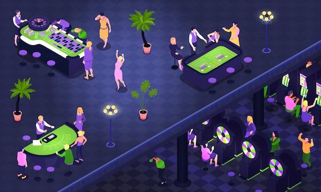 Il fondo isometrico con la gente che gioca il poker delle roulette craps nell'illustrazione del casinò 3d Vettore gratuito
