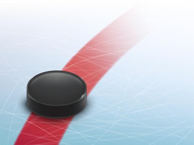 Il fondo realistico dell'hockey 3d, deride su per l'insegna dell'insegna, manifesto. Vettore gratuito