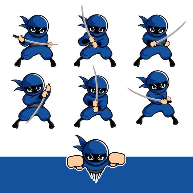 Il fumetto blu del ninja si mette con una spada e vola Vettore Premium
