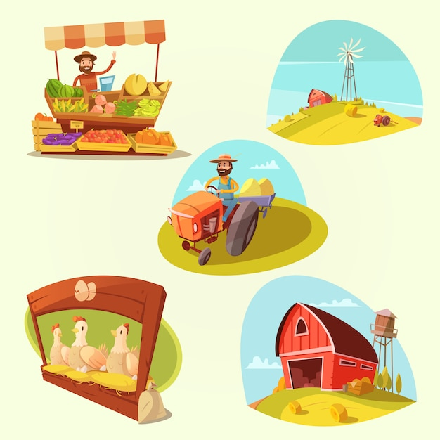 Il fumetto dell'azienda agricola ha messo con l'agricoltore ed i prodotti su fondo giallo ha isolato l'illustrazione di vettore Vettore gratuito