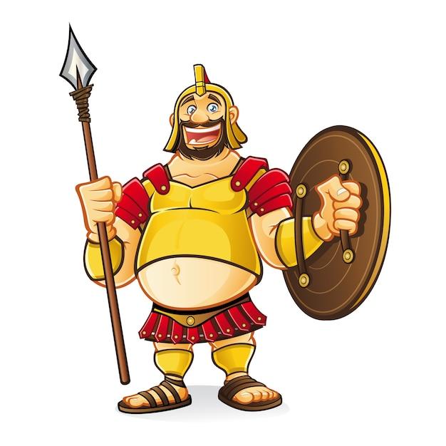 Il fumetto grasso di golia rideva divertito mentre impugnava una lancia e uno scudo Vettore Premium