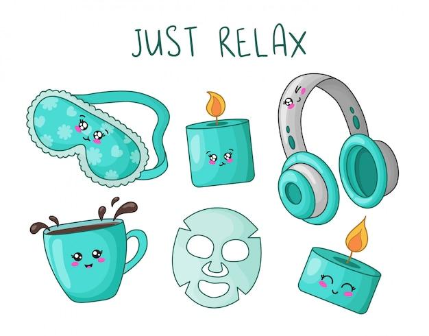Il fumetto ha messo con le cose carine di kawaii per riposo e rilassamento - maschera di sonno, candela dell'aroma, cuffie Vettore Premium