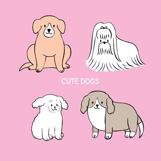 Il fumetto ha tagliato il vettore adorabile dei cani. Vettore Premium