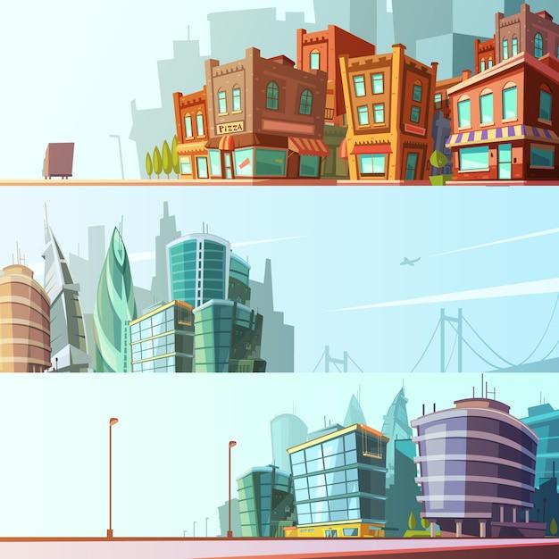 Il fumetto stabilito stabilito del fondo orizzontale dell'orizzonte del giorno di vista della via di zona della baia moderna e storica ha isolato l'illustrazione di vettore Vettore Premium