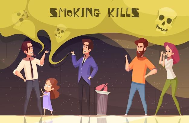 Il fumo uccide illustrazione vettoriale Vettore gratuito
