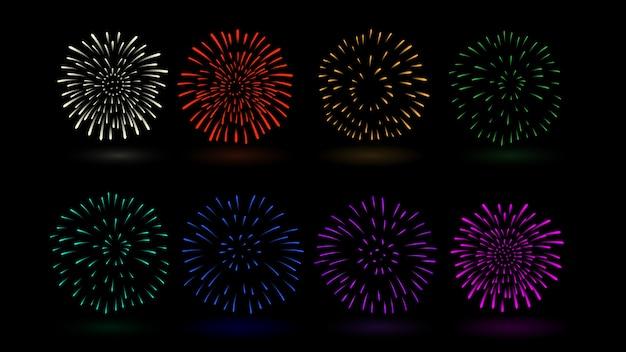 Il fuoco d'artificio vector il colore multiplo nella raccolta. ideale per il design di festival e celebrazioni. Vettore Premium