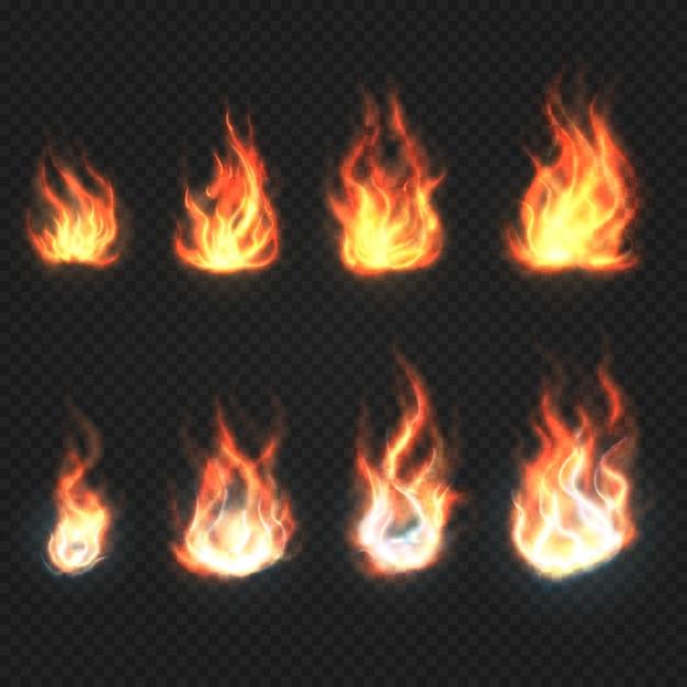 Il fuoco isolato fiammeggia l'insieme di vettore di simboli di potere e di energia Vettore Premium