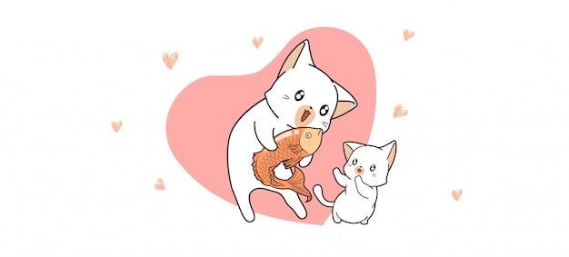Il gatto adorabile sta dando il pesce al gatto del bambino Vettore Premium