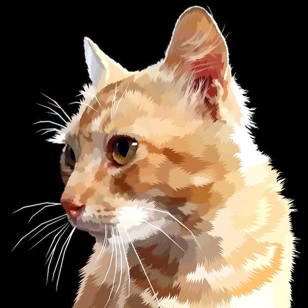 Il gatto osserva lateralmente isolato Vettore Premium