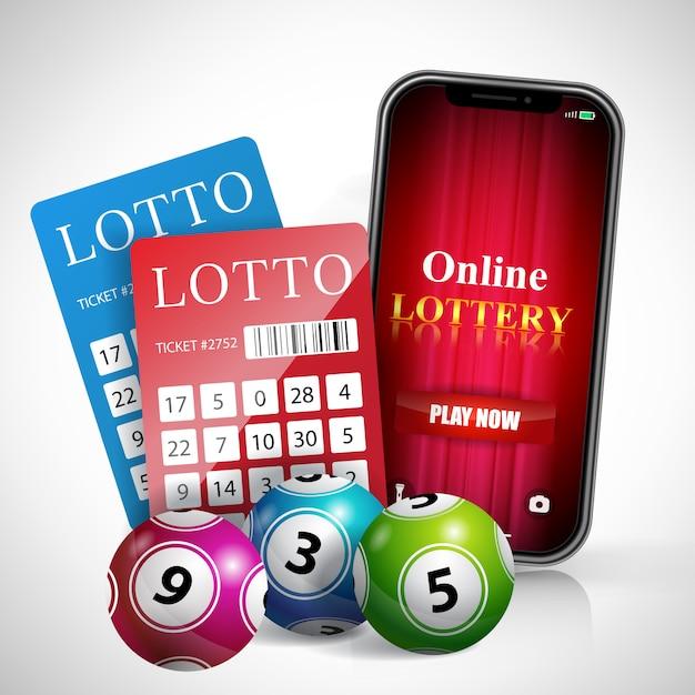 Il gioco della lotteria online ora è scritto sullo schermo dello smartphone, biglietti e biglie. Vettore gratuito