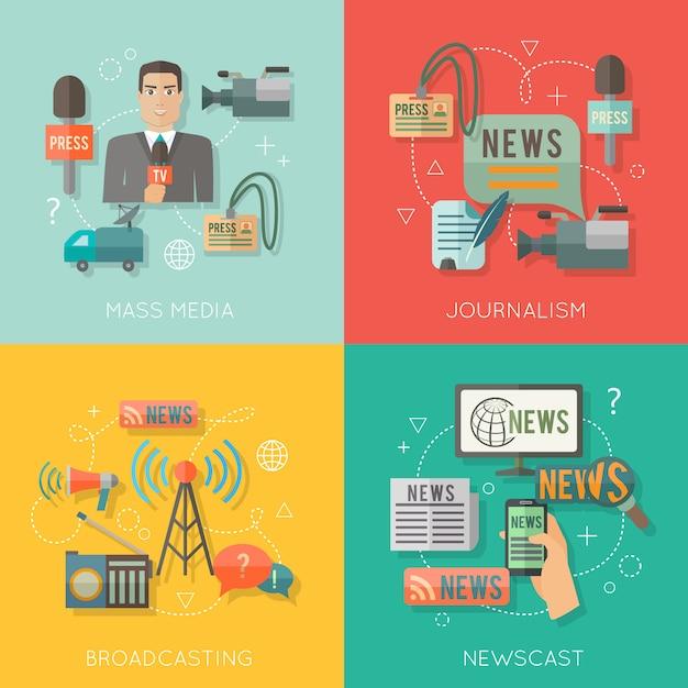 Il giornalismo di mass media che trasmette le icone piane di affari di concetto del colata di notizie ha messo della radio in tensione di professione dei paparazzi per gli elementi di web di progettazione di infographics Vettore Premium