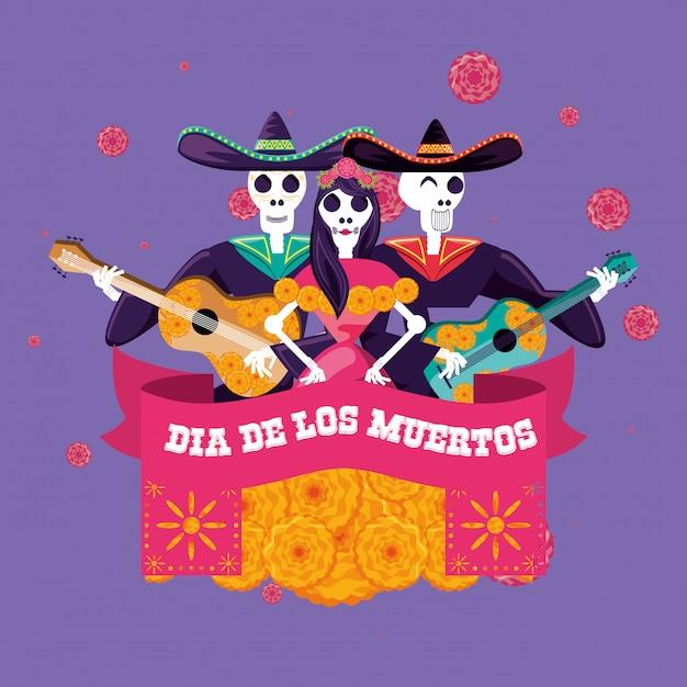 Il giorno dei morti dei teschi di mariachi e catrina Vettore Premium