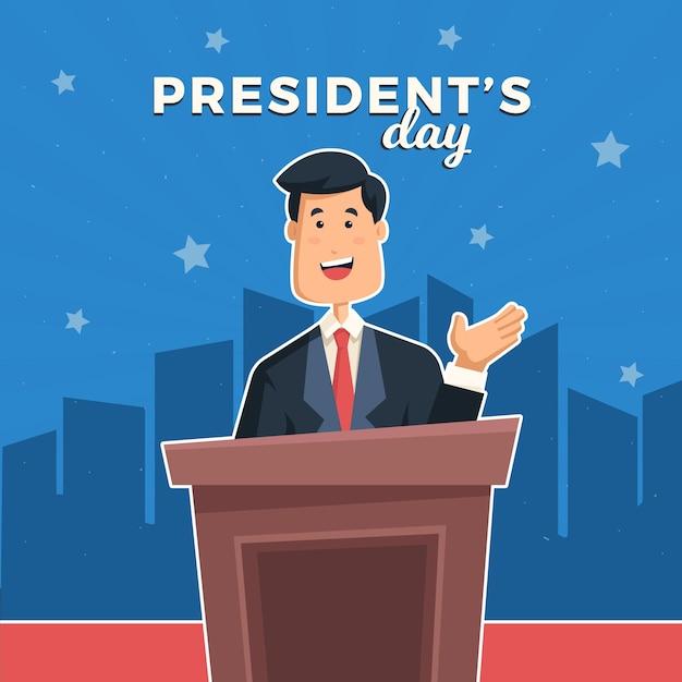 Il giorno del presidente piatto Vettore gratuito