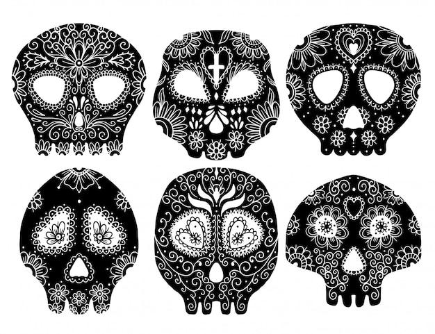 Il giorno del teschio morto. set di illustrazione vettoriale scheletro tatuaggio. Vettore Premium