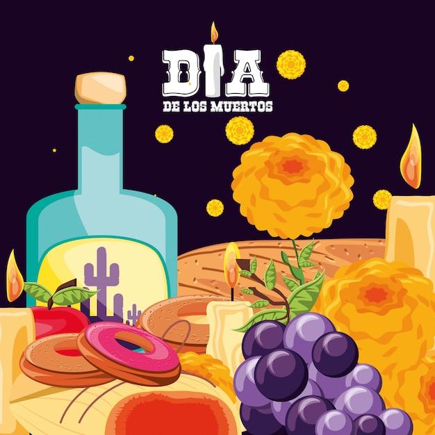 Il giorno della festa dei morti in bottiglia di tequila Vettore Premium