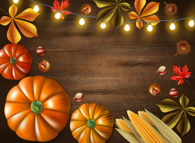 Il giorno di ringraziamento ha colorato la struttura con le zucche e le luci differenti di dimensione sull'illustrazione di legno di vettore del fondo Vettore gratuito