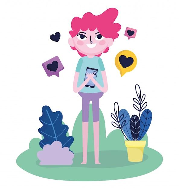 Il giovane abbraccia lo smartphone ama il messaggio romantico social media Vettore Premium