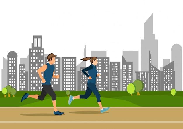 Il giovane ragazzo e la ragazza correnti attivi sugli sport pubblici della via hanno illustrato Vettore Premium