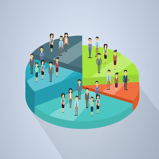 Il gruppo della gente di affari sta sul diagramma a torta Vettore Premium