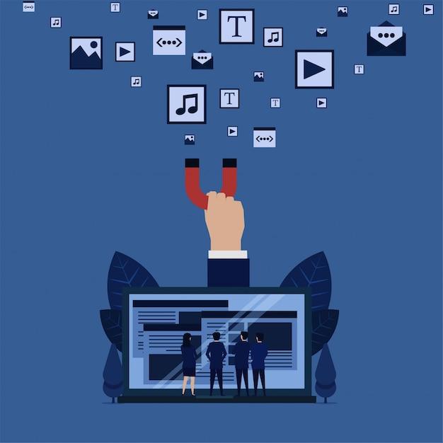 Il gruppo di affari vede il web dalla mano del computer portatile tiene la metafora di media del contenuto del tiro magnetico del contenuto completo di media dei siti web. Vettore Premium
