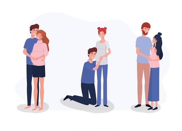 Il gruppo di amanti accoppia i caratteri di gravidanza Vettore gratuito