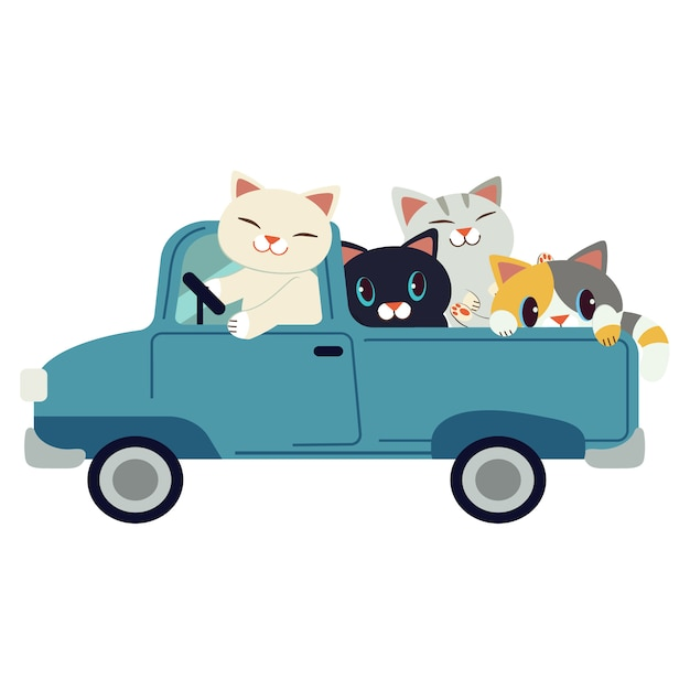 Il gruppo di carattere simpatico gatto guida un'auto blu. il gatto guida un'auto blu su sfondo bianco. Vettore Premium