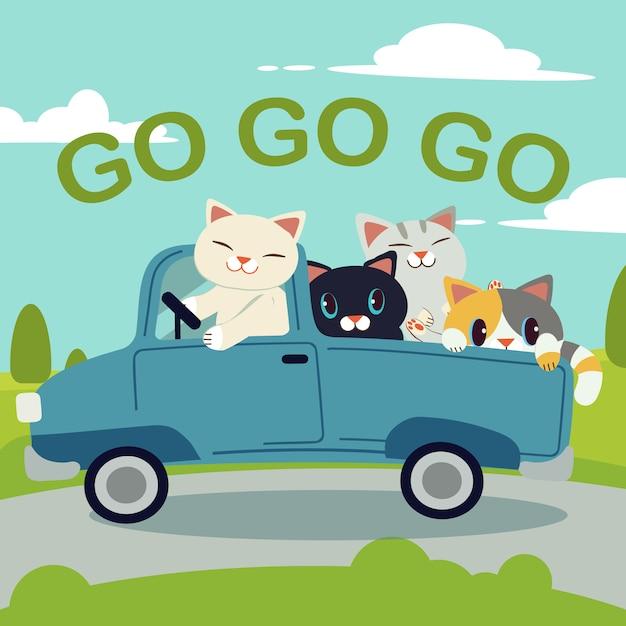 Il gruppo di carattere simpatico gatto guida un'auto blu per andare al viaggio Vettore Premium