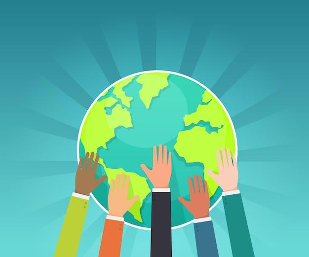 Il gruppo di uomo d'affari conserva il vettore di concetto della terra Vettore Premium