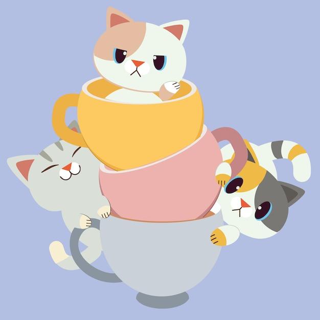 Il gruppo per il personaggio del simpatico gatto seduto nella tazza. Vettore Premium