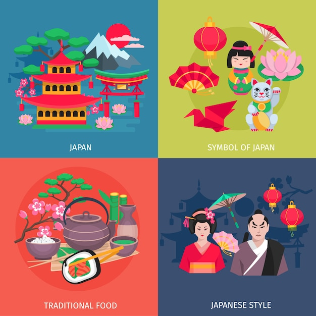 Il kimono di stile giapponese ed i simboli tradizionali dell'alimento 4 icone piane quadrano l'isolante variopinto dell'insegna dell'estratto Vettore gratuito