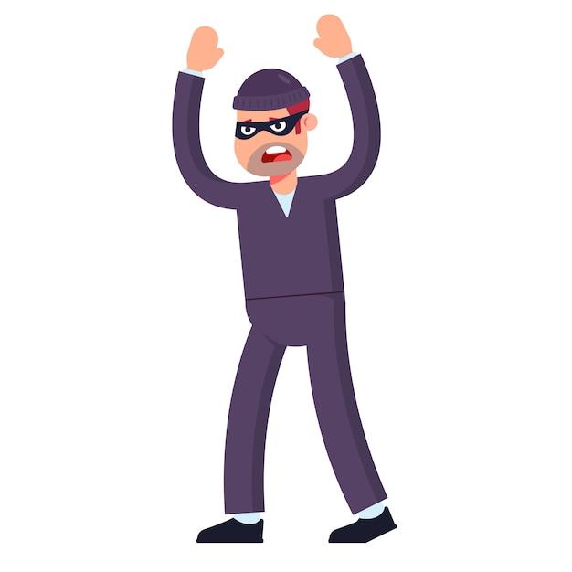Il ladro si arrende alza le mani in alto. catturato sulla scena del crimine. piatto Vettore Premium