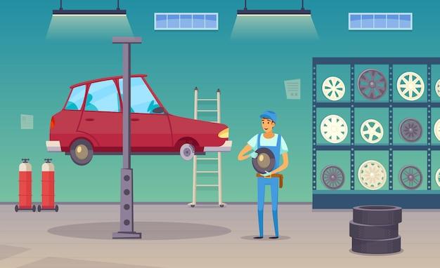 Il lavoratore del servizio di riparazione auto sostituisce il pneumatico danneggiato e le ruote cambiate Vettore gratuito