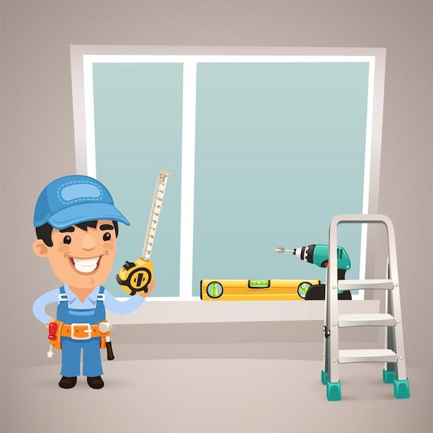 Il lavoratore sta installando la finestra Vettore Premium