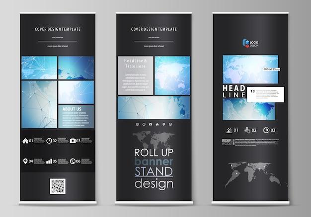 Il layout di colore nero di supporti per banner roll up, volantini verticali Vettore Premium