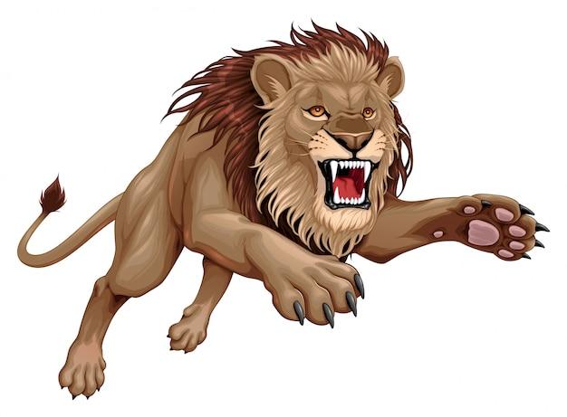 Il leone arrabbiato sta saltando Vettore Premium