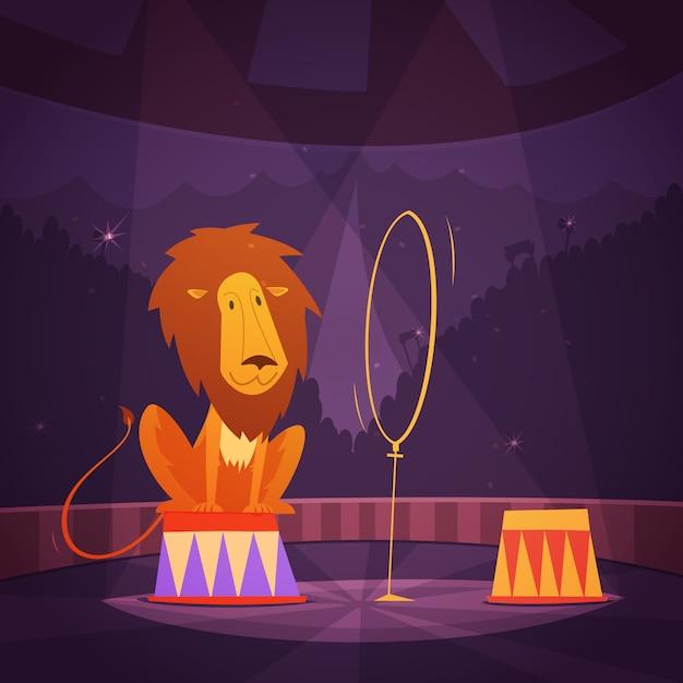 Il leone del circo che salta attraverso un anello sul fumetto del palcoscenico Vettore gratuito