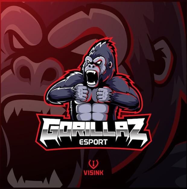 Il logo arrabbiato della mascotte della gorilla desain Vettore Premium