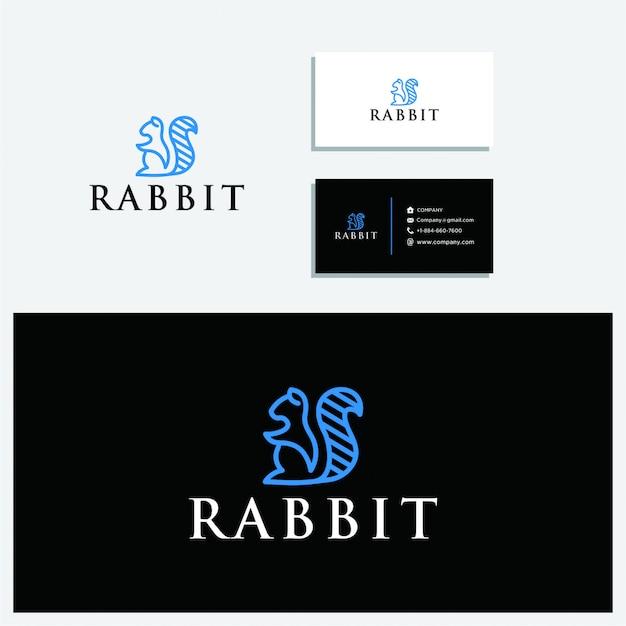 Il logo del coniglio seduto e modello di biglietto da visita Vettore Premium